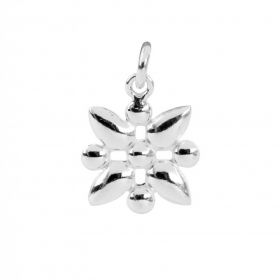Sterling Silver 925 Square Flower Charm 10x12mm Pk1