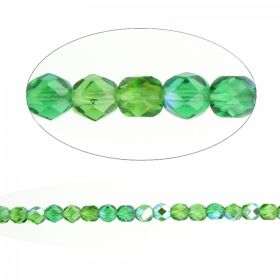 Czech Fire Polished Glass Round Beads Green AB 6mm Pk100