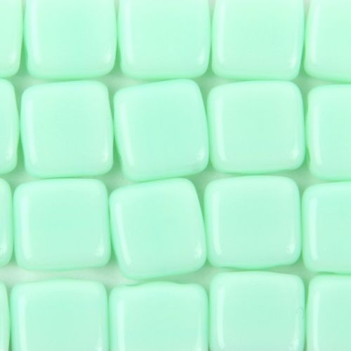 Preciosa Press Twin Hole Tile Square 6mm Mint Green Pk20