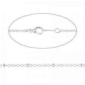Silver Plated Rondelle Trace Chain Necklace with Clasp 18""