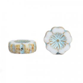 White and Blue Preciosa Czech Glass Flower 14mm Pk10
