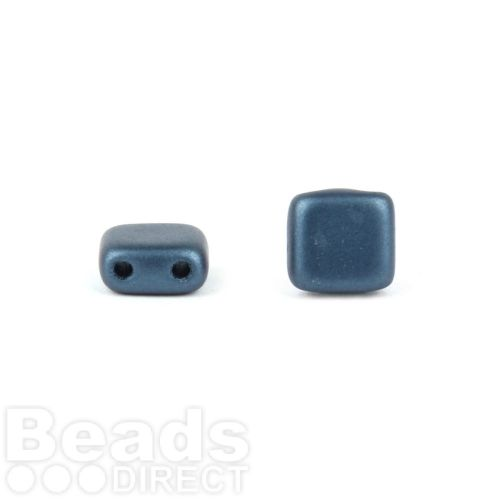 Preciosa Pressed Twin Hole Tile Square 6mm Frosted Navy Pk20