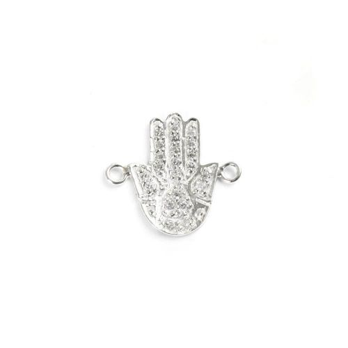 X-Sterling Silver 925 Hand Connector Charm with Clear Crystals 12x17mm Pk1