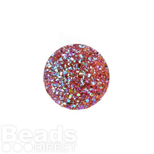 Fire Opal AB Sparkly Resin Round Flat Back Cabochons 25x25mm Pk5