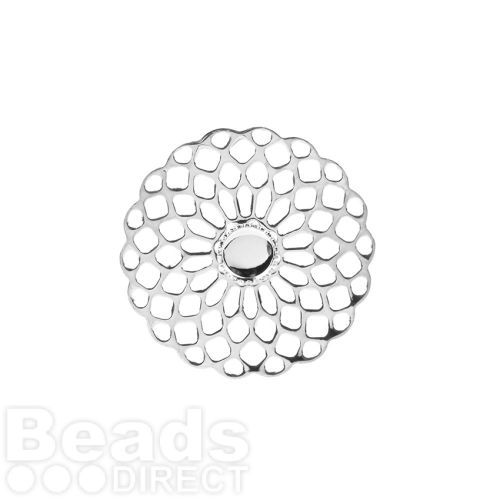 Silver Plated Filigree Flower Holds SS20 25mm Pk1