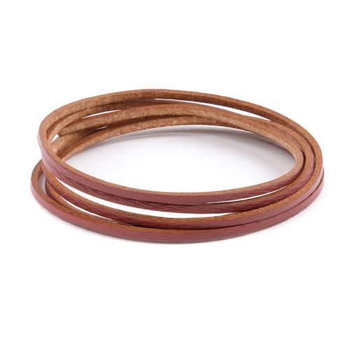 Pink Flat Leather Cord 2mm Pre Cut 1metre