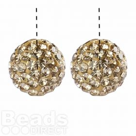Gold Premium Shamballa Fashion Half Drilled 10mm Round Beads Pk2