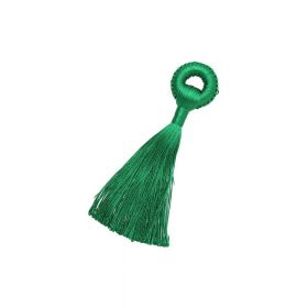 Tassel / viscose thread / braided base / 90mm / green / 1pcs