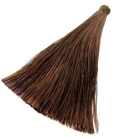 Tassel / viscose thread / 65mm / width 7mm / brown / 1pcs