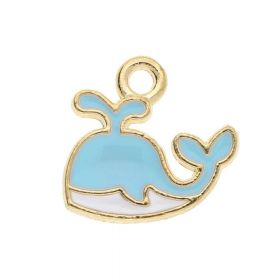 SweetCharm ™ Wale / pendant charms / 12x14x1.5mm / gold plated / mint-white / 2pcs