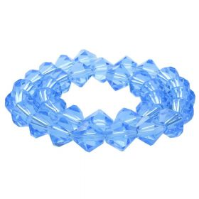 CrystaLove™ crystals / glass / bicone / 6mm / royal blue / transparent / 48pcs