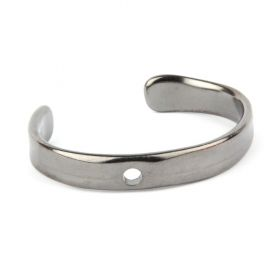 Gunmetal Plated Zamak Flat Bangle Base with Hole 50x65mm Pk1