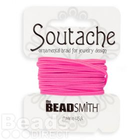 Deep Pink Polyester Soutache Cord Beadsmith 3yds
