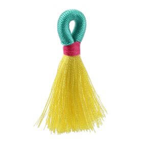 Yellow/Mint/Fuchsia Loop Tassel 40mm Pk1