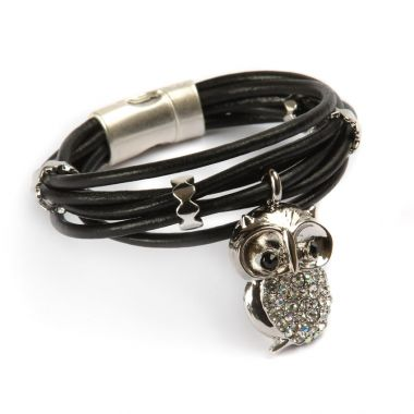 Luxe Owl Leather Bracelet
