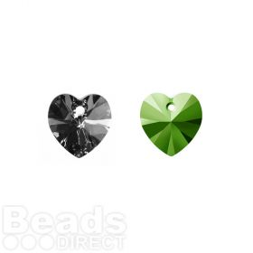 6228 Swarovski Crystal Hearts 10mm Crystal Scarabaeus Green Pk2