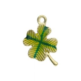FancyCharm™ / clover / charm pendant / 19x12x20mm / gold plated / green / 2pcs