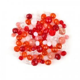 Preciosa Czech Glass Bead Mix Red/Orange 50g
