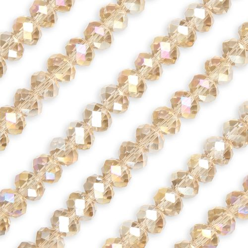 X- Essential Crystal Faceted 8mm Rondelle Champagne AB 72pack