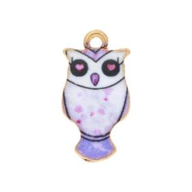 SweetCharm ™ Owl / charms pendant / 23x12x2.5mm / gold plated / lilac / 2pcs