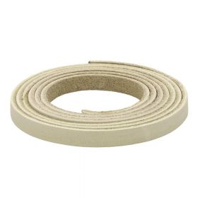 Leather cord / natural / flat / 8x2mm / cream / 1m