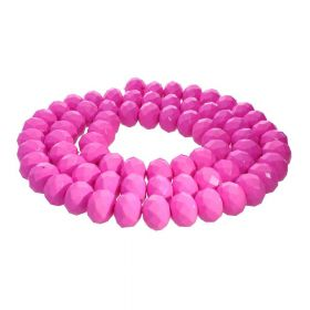 Milly™ / rondelle / 8x10mm / neon pink / 70pcs