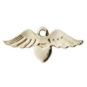Wings with heart / charm pendant / 33x14mm / gold plated / hole 2.1mm / 2pcs