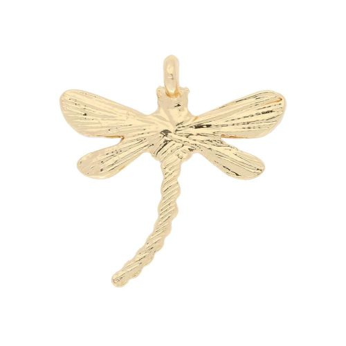 Glamm ™ Dragonfly / charm pendant / with cubic zirconia / 20.5x19x4.5mm / gold plated / Crystal / 1pcs