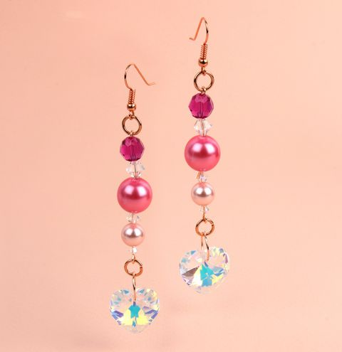 Pink Hearts and Pearls Earrings