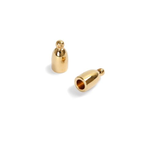 Bullet End Cap Gold Plated 3mm PK2 Kumihimo Braid ends