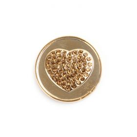 Small Gold Plated Crystal Heart Coin Disk for Interchangeable Locket 24mm Pk1
