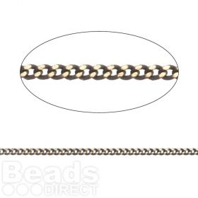 Grey/Gold Plated Brass Thin Curb Chain 1.45x1.8mm 1metre