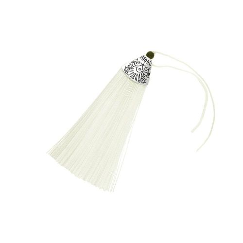 Tassel / viscose thread / silver flat end cap / 80mm / light cream / 1pcs
