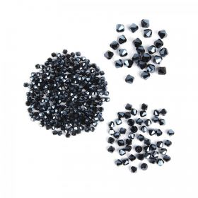 Black Crystal Glass Bicone Beads Pk325 (4mmx250 6mmx50 8mmx25)