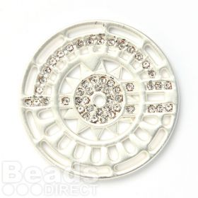 KB Matte Silver Plated Crystal Fancy Coin Disk for Interchangeable Locket 32mm Pk1