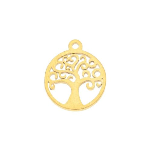 Tree / charm / surgical steel / 12x10mm / gold / 2pcs