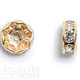 77508 Swarovski Gold Plated Rondelle 8mm Crystal Clear Pk6