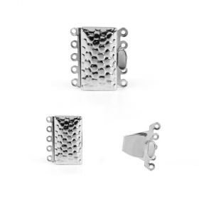 Silver Plated 5 Strand Box Clasp Dot Design 13x24mm Pk1
