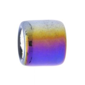 Ceramic beads / cylinder / 17x15.5x15.5mm / iridescent / graphite / hole 9.5mm / 2pcs