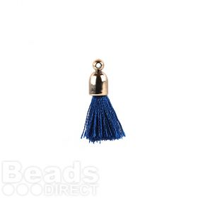Blue Pom Pom Tassel Charm with Cup End 25mm Pk2