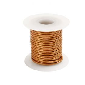 Bronze Round Leather Cord 1mm 5Metre Reel