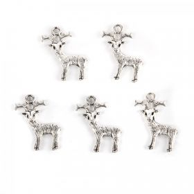 Silver Tone Christmas Reindeer Charm 24x19mm Pk5