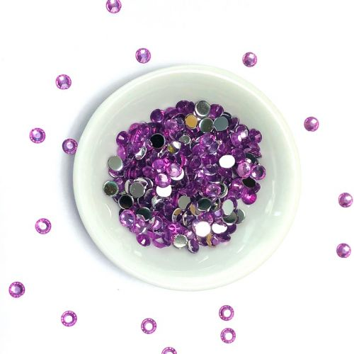 Acrylic / flat back / faceted / round / embellishment / purple / 4x2mm / ~6g