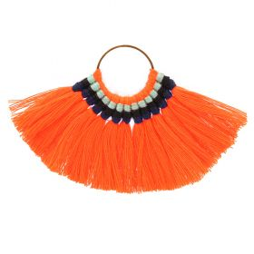 Orange Cotton Fan Tassel Charm on Hoop 59x77mm Pk1