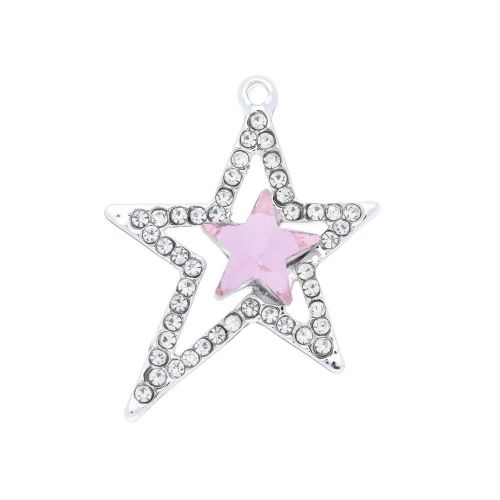 Glamm ™ Christmas / charm pendant / with zircons / 26.5x23x5.5mm / pink / silver plated / crystal / 1pcs