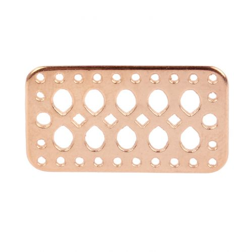 Rose Gold Plated Zamak Connector with Multiple Holes 16x29mm Pk1