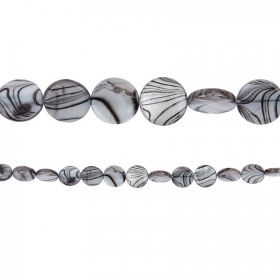 "Grey Striped Shell Flat Round Beads 10-11mm Pk2 Strand (15"")"