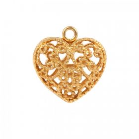 Matt Gold Plated Filigree 17mm Heart Charm with Loop Pack 1