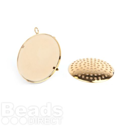 Gold Plated Large Sieve Disk and Pendant Base 32mm Pk1