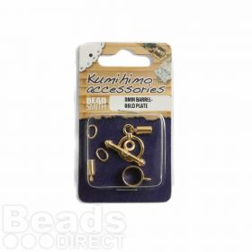 Kumihimo Findings Set 3mm Barrel Gold Plated